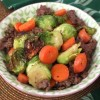 Roasted Brussels'n Carrots w/Ground Beef